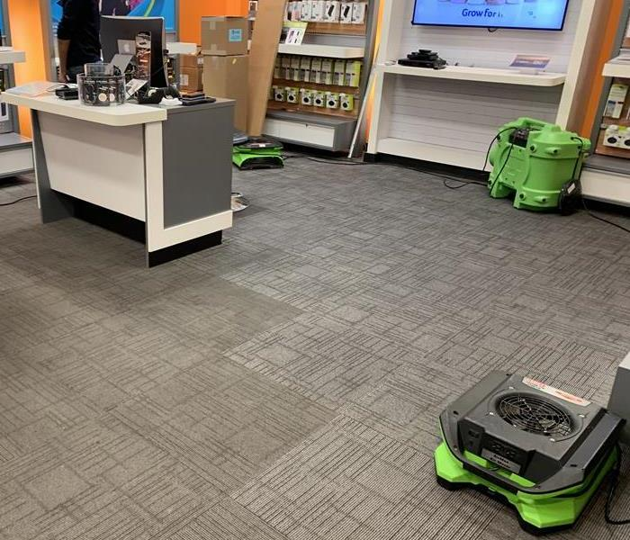 Green air movers on a carpet floor.