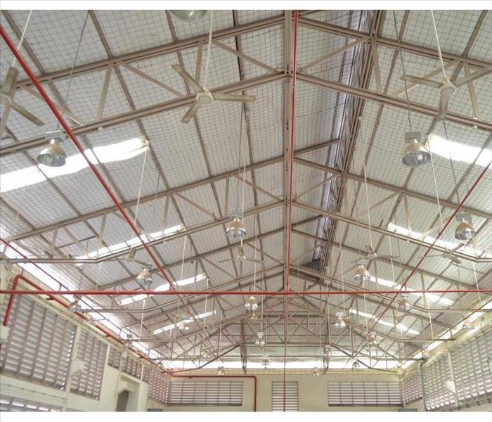 Factory roof structure and automatic fire protection in building system.